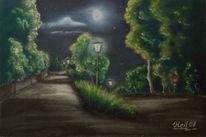 Pastellmalerei, Malerei, Nacht, Laterne