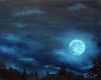 Wolken, Nacht, Mond, Malerei
