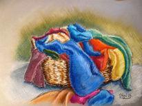 Stillleben, Pastellmalerei, Wäsche, Korb