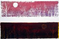 Landschaft, Mondschein, Ölmalerei, Druck
