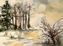 Sonne, Aquarellmalerei, Wetter, Malerei