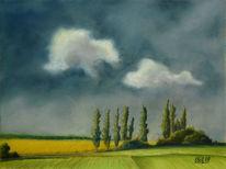 Wolken, Himmel, Pastellmalerei, Baum