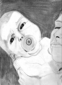 Zeichnung, Portrait, Baby, Zeichnungen