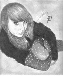 Mädchen, Zeichnen, Portrait, Zeichnung