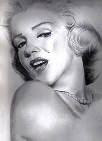 Frau, Bleistiftzeichnung, Marilyn monroe, Zeichnung