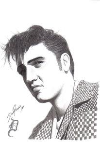 Elvis, Zeichnen, Zeichnung, King