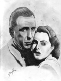 Kohlezeichnung, Casablanca, Zeichnung, Portrait