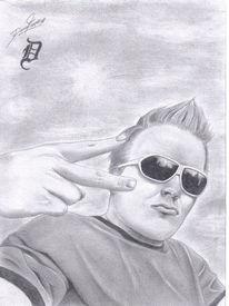 Mann, Bleistiftzeichnung, Sonnenbrillen, Sommer