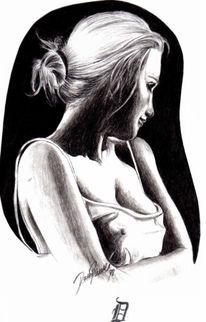 Zeichnen, Frau, Zeichnung, Kohlezeichnung