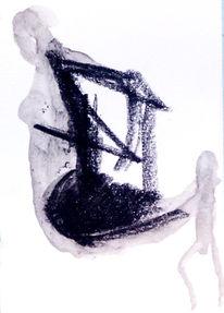 Malerei, Abstrakt, Frau, Schwarz