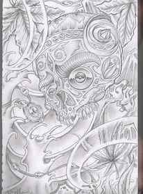 Japan, Schädel, Zeichnungen
