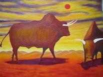 Landschaft, Bulle, Malerei, Surreal