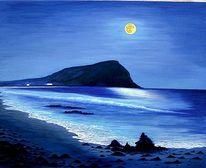 Landschaft, Mond, Meer, Malerei