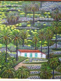 Malerei, Landschaft, Palmen