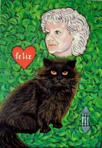 Katze, Portrait, Herz, Malerei