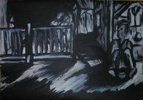 Acrylmalerei, Schwarz weiß, Zeichnung, Skizze