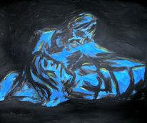 Erinnerung, Acrylmalerei, Blau, Gelb