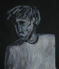 Schwarz weiß, Acrylmalerei, Malerei, Figural