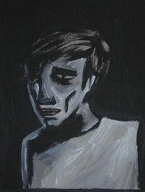Acrylmalerei, Schwarz weiß, Malerei, Figural