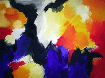 Gelb, Blau, Abstrakt, Malerei