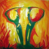 Elefant, Grün, Rot, Afrika