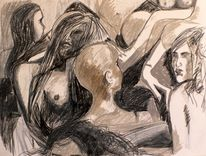 Zeichnung, Frau, Schwarz weiß, Mischtechniken