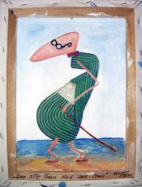 Alter mann, Meer, Malerei, Mann