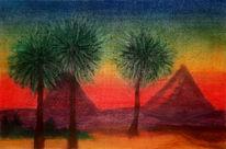 Wüste, Landschaft, Palmen, Pyramide