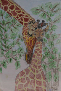 Steppe, Giraffe, Figural, Malerei