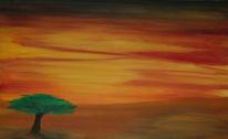 Ölmalerei, Sonnenuntergang, Zeichnungen