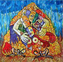 Gesellschaft, Acrylmalerei, Surreal, Malerei
