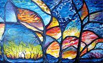 Mond, Acrylmalerei, Sonne, Baum