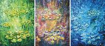 Acrylmalerei, Seerosen, Abend, Wasser