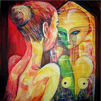 Spiegel, Acrylmalerei, Menschen, Tanz