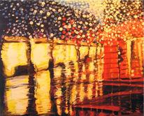 Stadt, Regen, Acrylmalerei, Licht