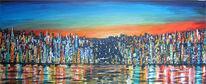 Spiegelung, Wasser, Acrylmalerei, Stadt
