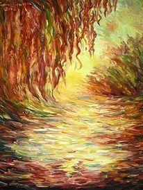 Fluss, Trauerweiden, Ölmalerei, Malerei