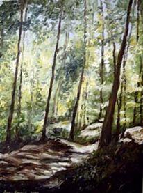 Wald, Weg, Licht, Ölmalerei