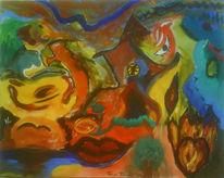 Malerei, Surreal, Mund