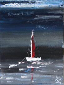 Segelschiff, Nacht, Meer, Hafen