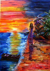 Natur, Landschaft, Meer, Frau