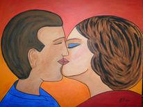 Kuss, Naive malerei, Figural, Malerei