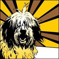 Hundeportrait, Hund, Popart, Retro