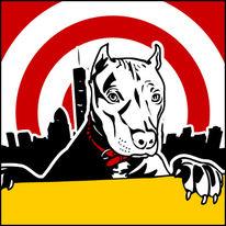 Hundeportraits, Tierportrait, Rot, Pop art