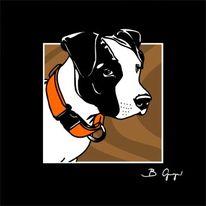 Illustration, Kunstdruck, Portrait, Hund