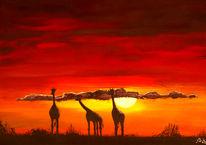 Natur, Tiere, Sonnenuntergang, Acrylmalerei