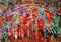 Farben, Menschen, Signatur, Malerei