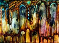 Abstrakt, Malerei, Tempel
