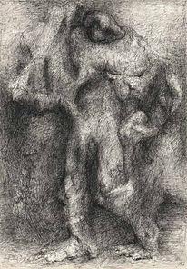 Fugurativ, Akt, Zeichnung, Mann