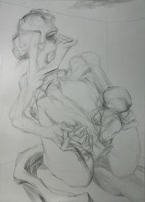 Frau, Figurativ, Surreal, Geburt